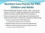 nutrition care process for pws children and adults