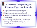 assessment responding to response papers vs journals
