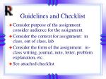 guidelines and checklist