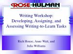 writing workshop developing assigning and assessing writing to learn tasks