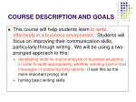 course description and goals