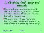 1 obtaining food water and minerals