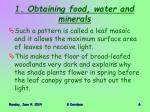 1 obtaining food water and minerals2