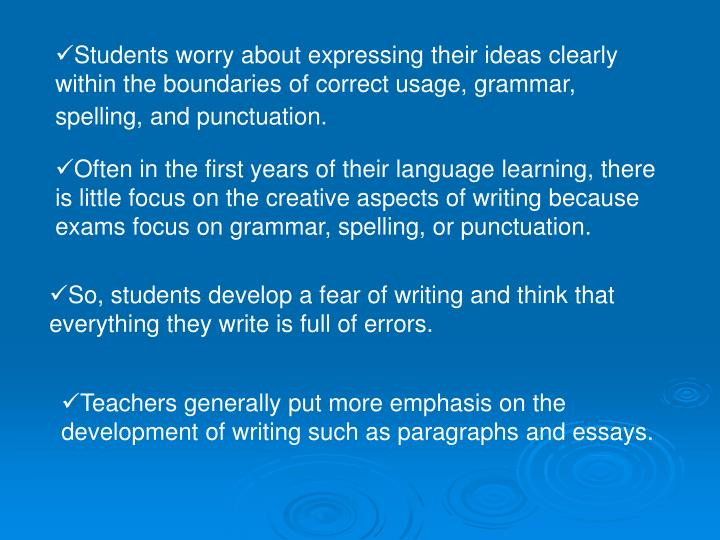 Students worry about expressing their ideas clearly within the boundaries of correct usage, grammar,...