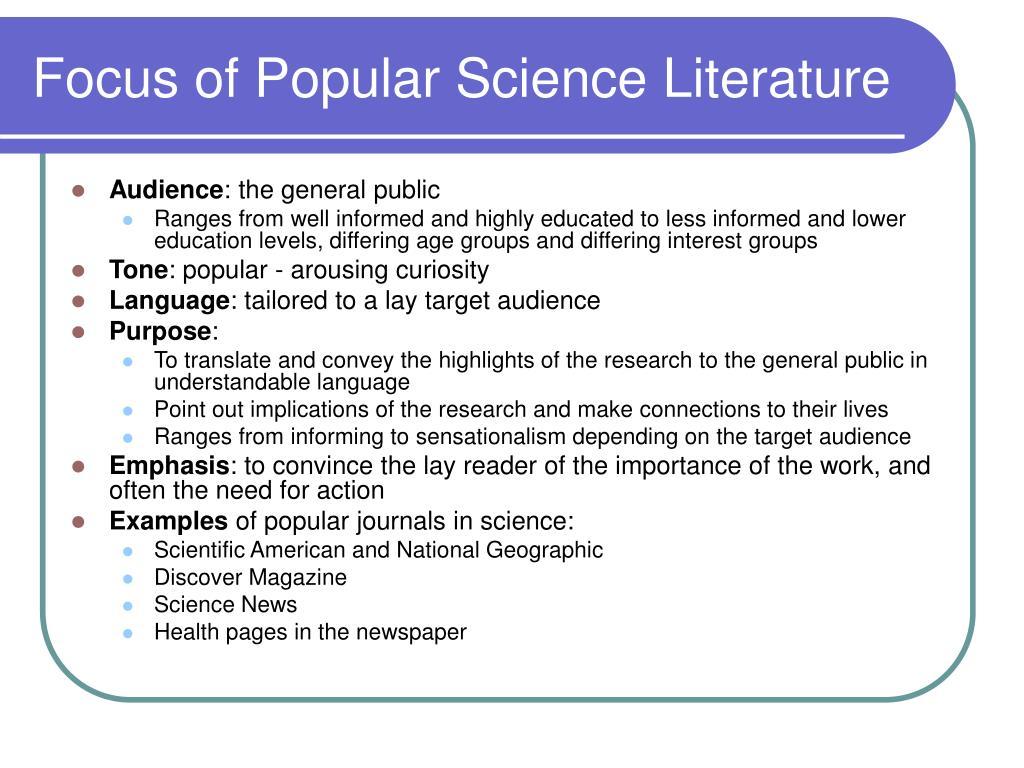 Focus of Popular Science Literature