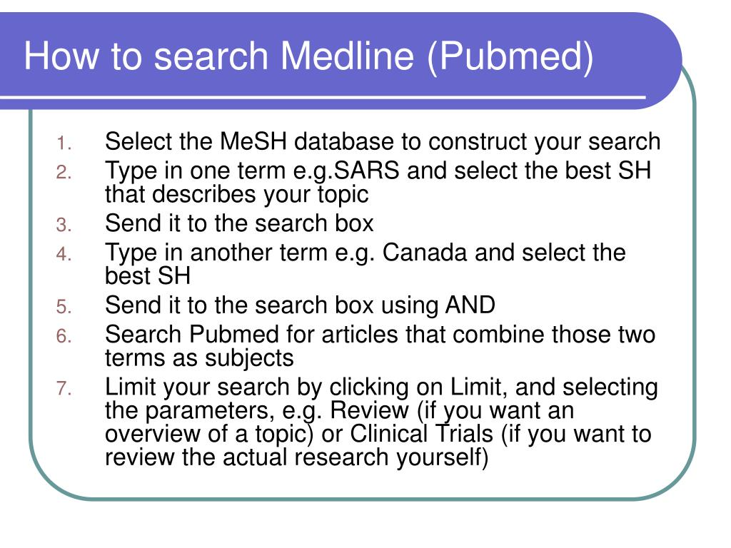 How to search Medline (Pubmed)