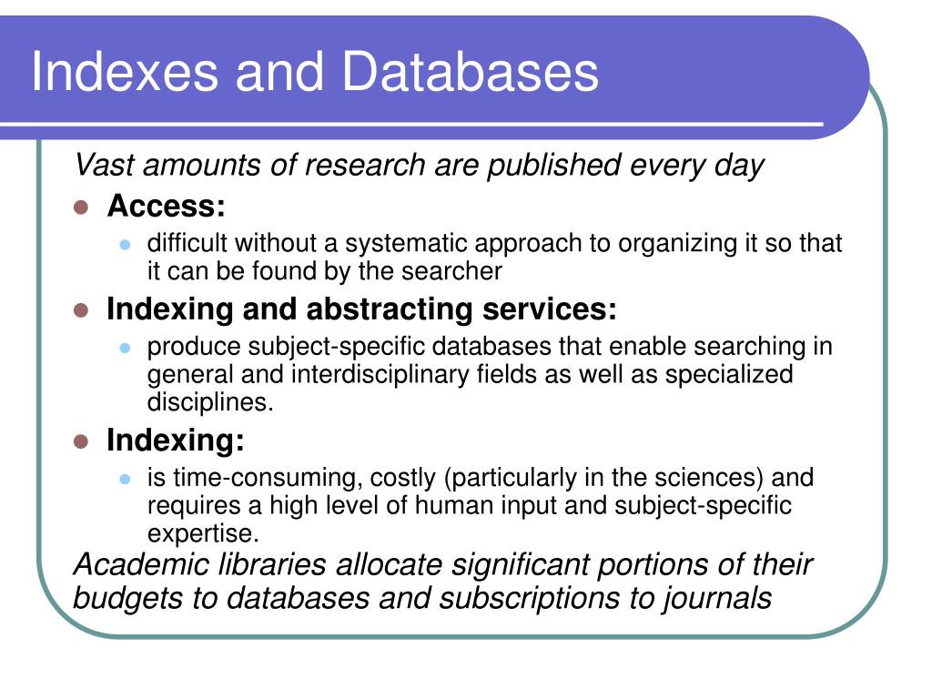 Indexes and Databases