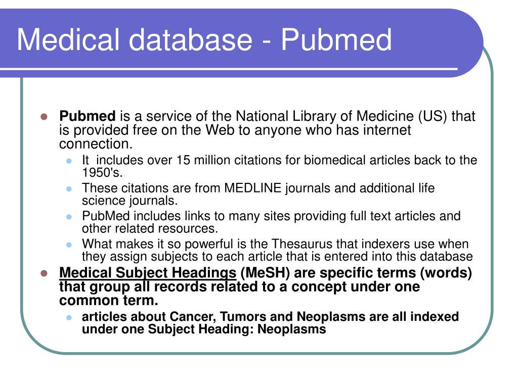 Medical database - Pubmed