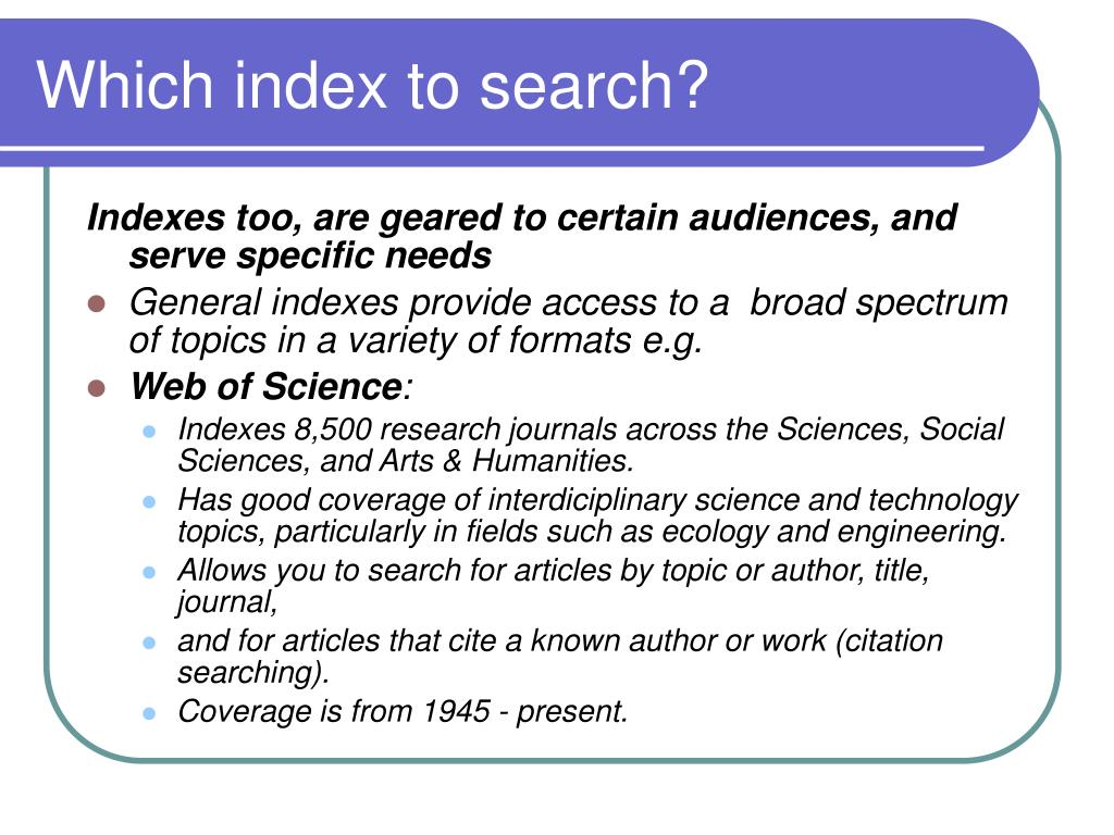 Which index to search?