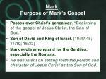 mark purpose of mark s gospel