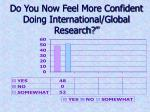 do you now feel more confident doing international global research
