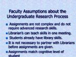 faculty assumptions about the undergraduate research process