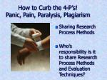 how to curb the 4 p s panic pain paralysis plagiarism