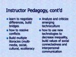 instructor pedagogy cont d