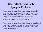 general solutions to the synoptic problem