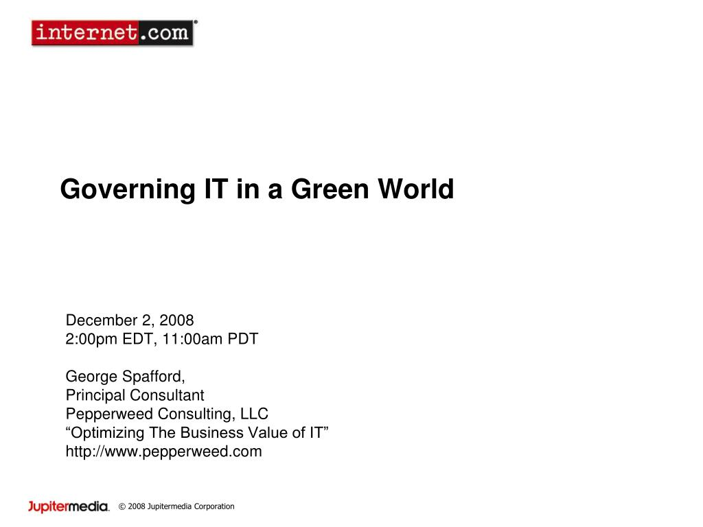 governing it in a green world l.