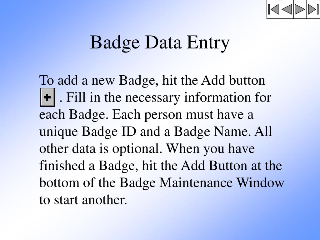 Badge Data Entry