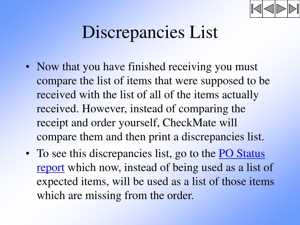 Discrepancies List
