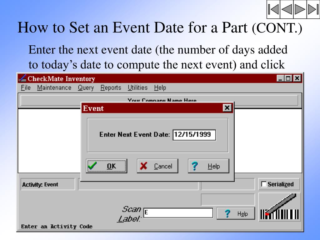 How to Set an Event Date for a Part