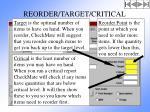 reorder target critical