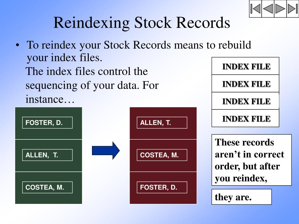 Reindexing Stock Records