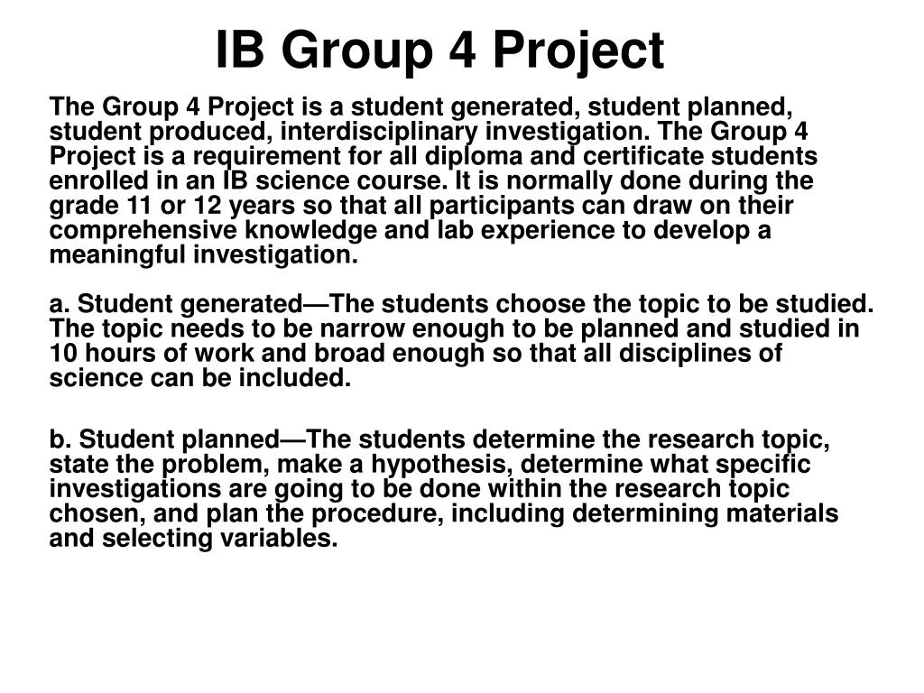 Ib group 4 project fabulous food as an individual, identify 1-2.