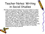teacher notes writing in social studies