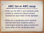 abc list or abc soup