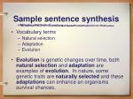 sample sentence synthesis