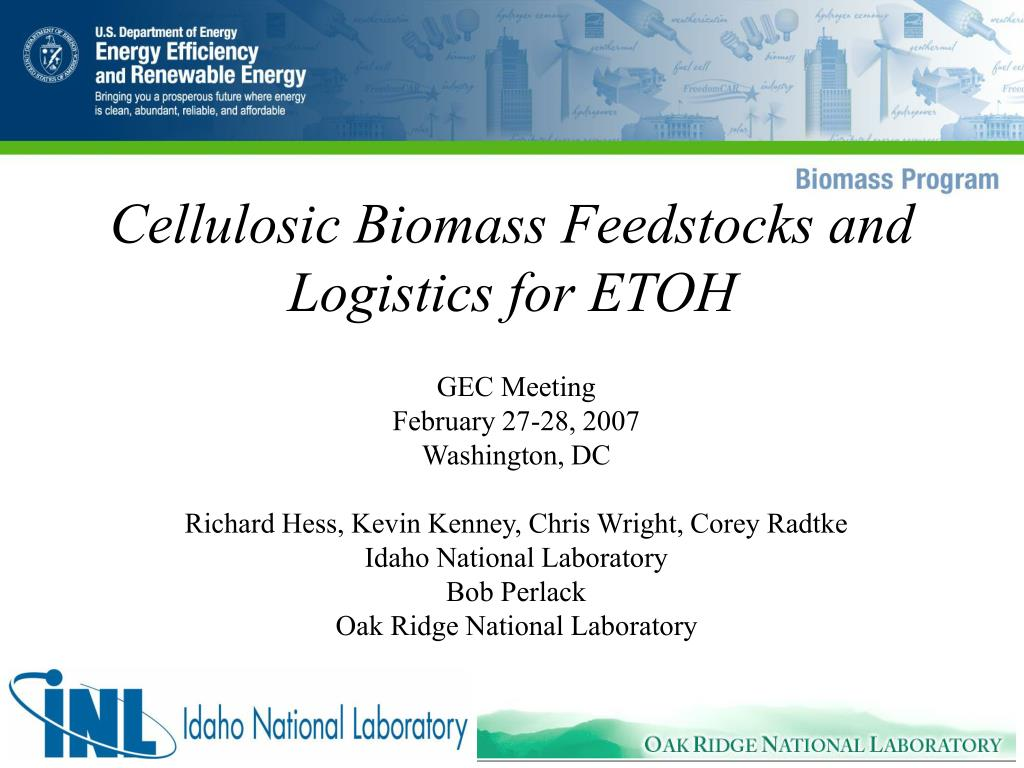 cellulosic biomass feedstocks and logistics for etoh l.