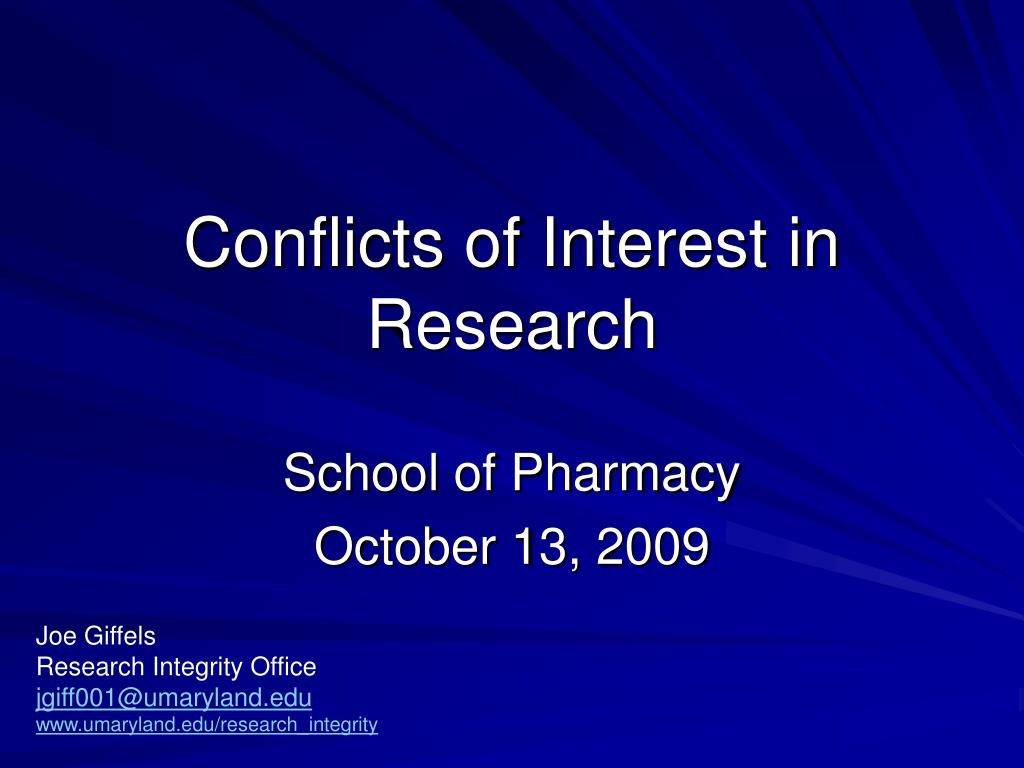 conflicts of interest in research l.