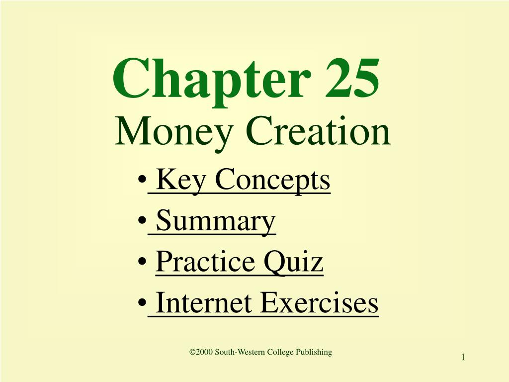 chapter 25 money creation l.