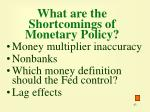 what are the shortcomings of monetary policy