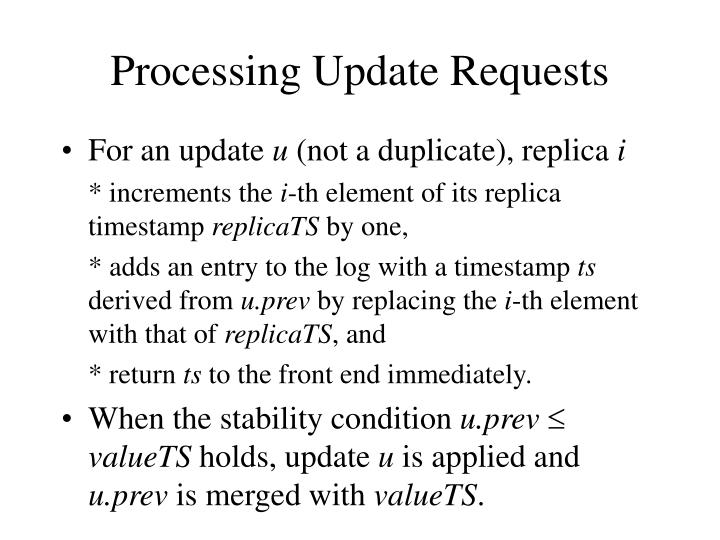 Processing Update Requests