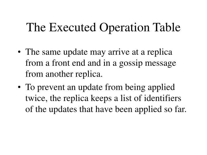 The Executed Operation Table