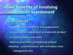 some benefits of involving students in assessment