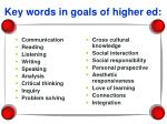 key words in goals of higher ed