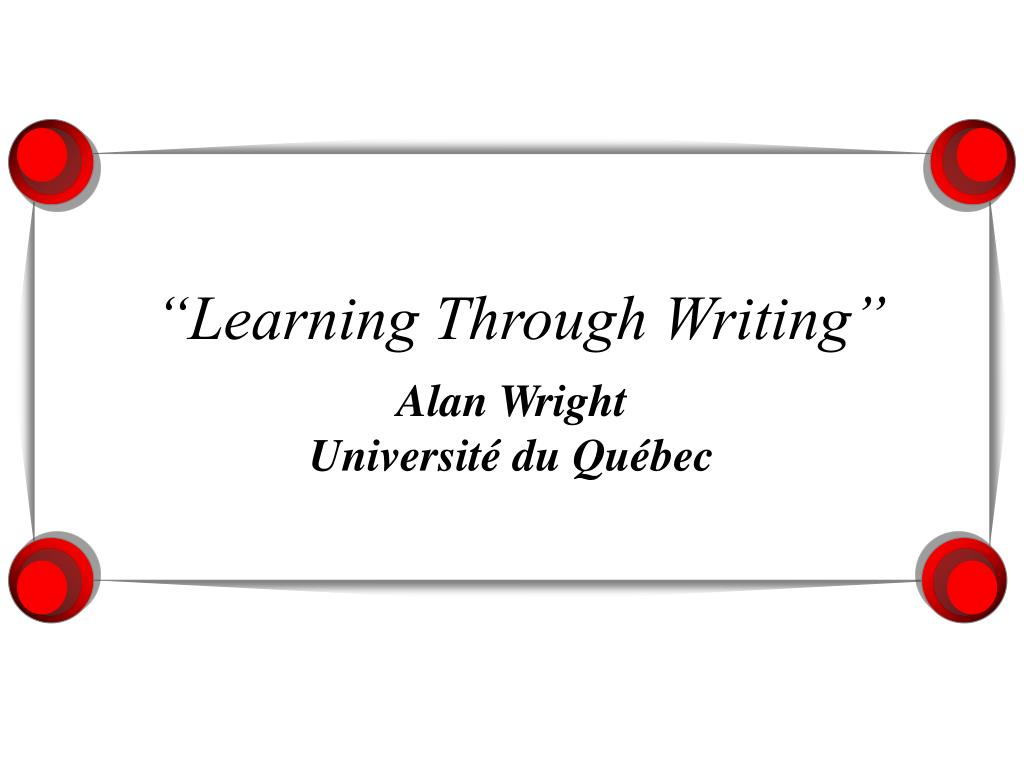 learning through writing l.