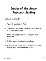 design of the study research setting