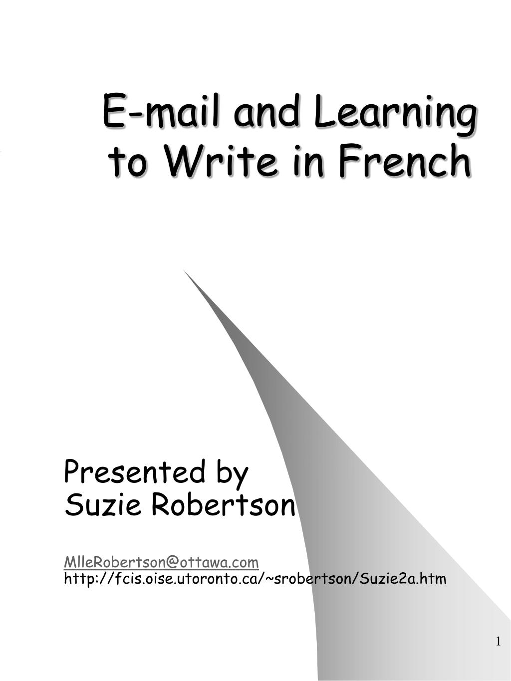 e mail and learning to write in french l.