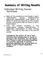 summary of writing results40