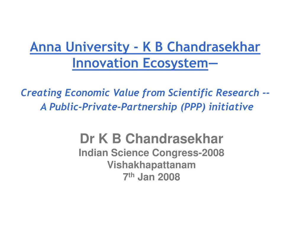 dr k b chandrasekhar indian science congress 2008 vishakhapattanam 7 th jan 2008 l.