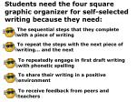 students need the four square graphic organizer for self selected writing because they need