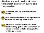 students should write at least three first drafts for every one they revise
