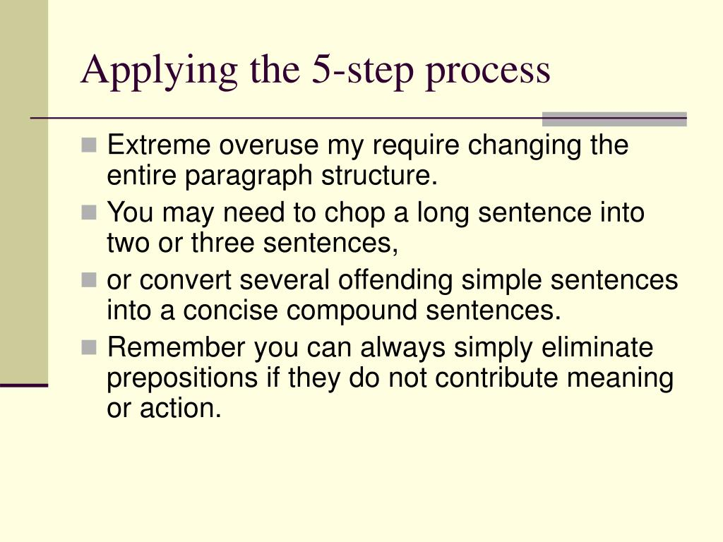Applying the 5-step process
