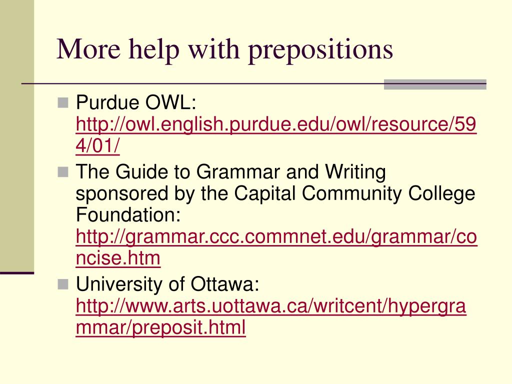 More help with prepositions