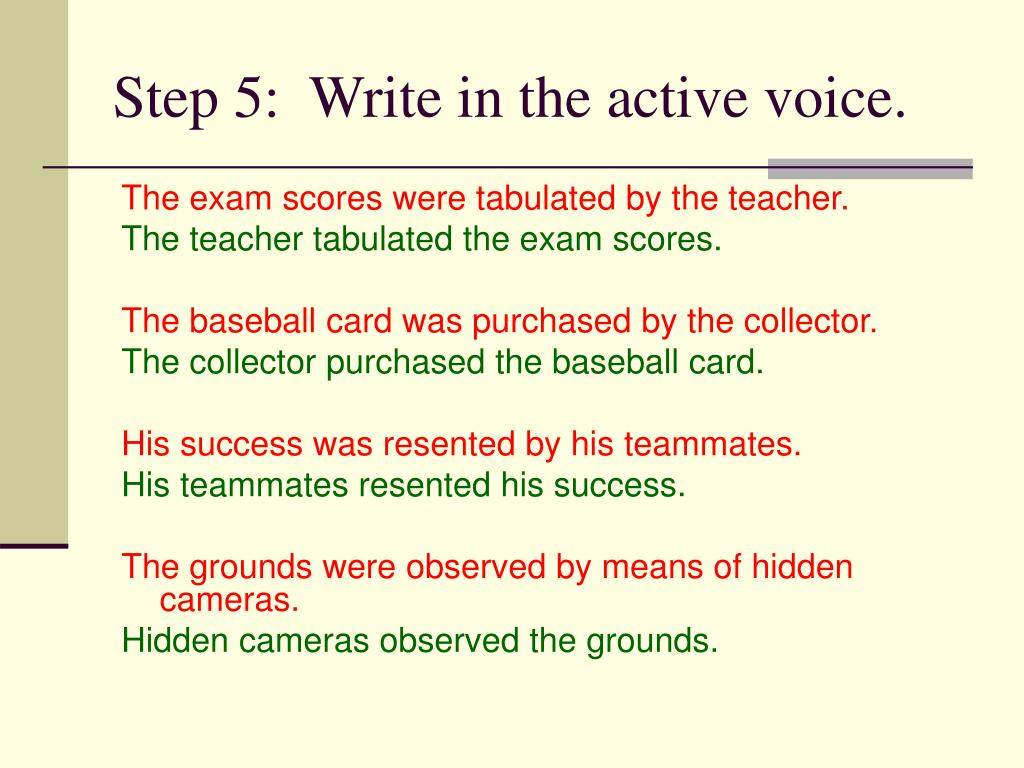 Step 5:  Write in the active voice.