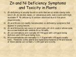 zn and ni deficiency symptoms and toxicity in plants