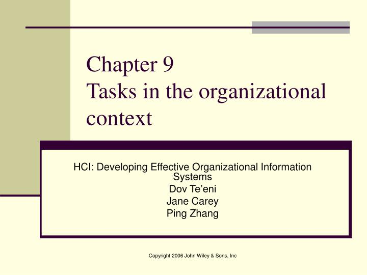chapter 9 tasks in the organizational context n.