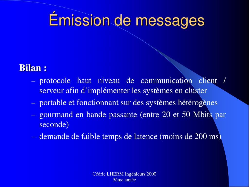Émission de messages
